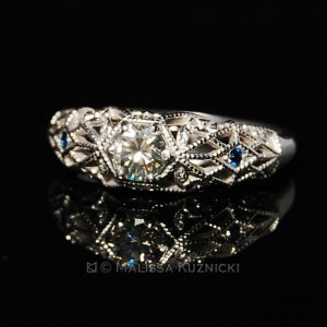 Filigree Ring with Moissanite and Sapphire